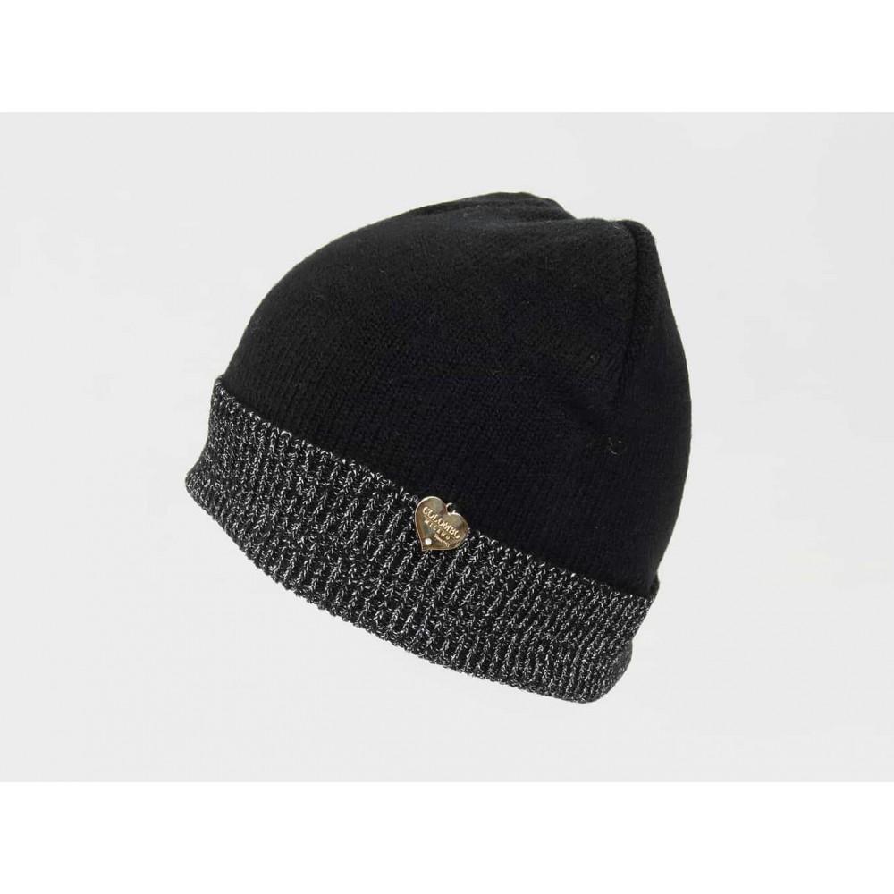 Nero - cappello da donna con risvolto di lurex argento