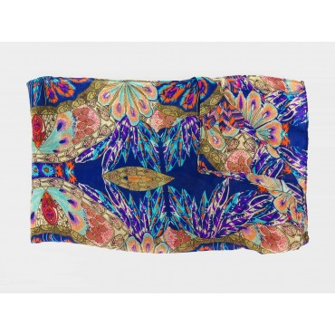 Multicolor scarf with ethnic pattern in a design box open