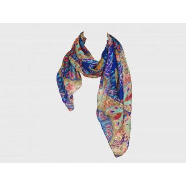 modello - Sciarpa leggera etnica multicolor da donna