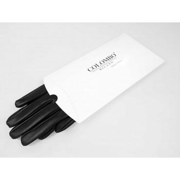 Scatola regalo - guanti da donna in ecopelle con inserto di pizzo