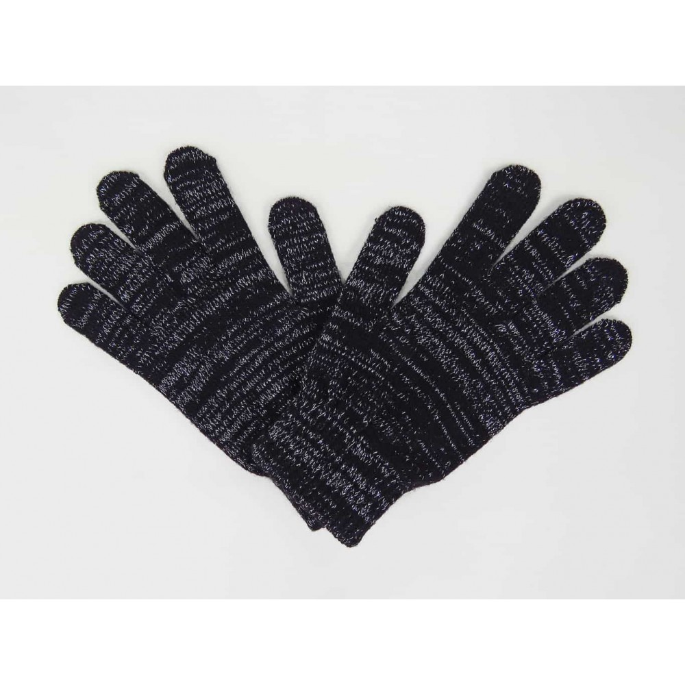 Elastic gloves with lurex and gift box - black
