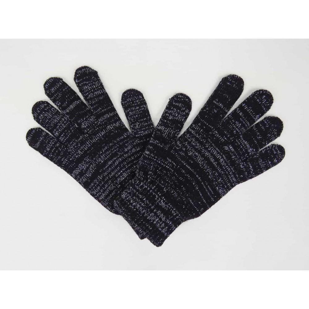 Nero- guanti magici con lurex argento