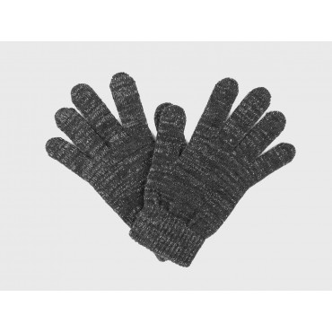 Elastic gloves with lurex and gift box - dark grey