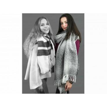 Wide women's grey shaded scarf  model