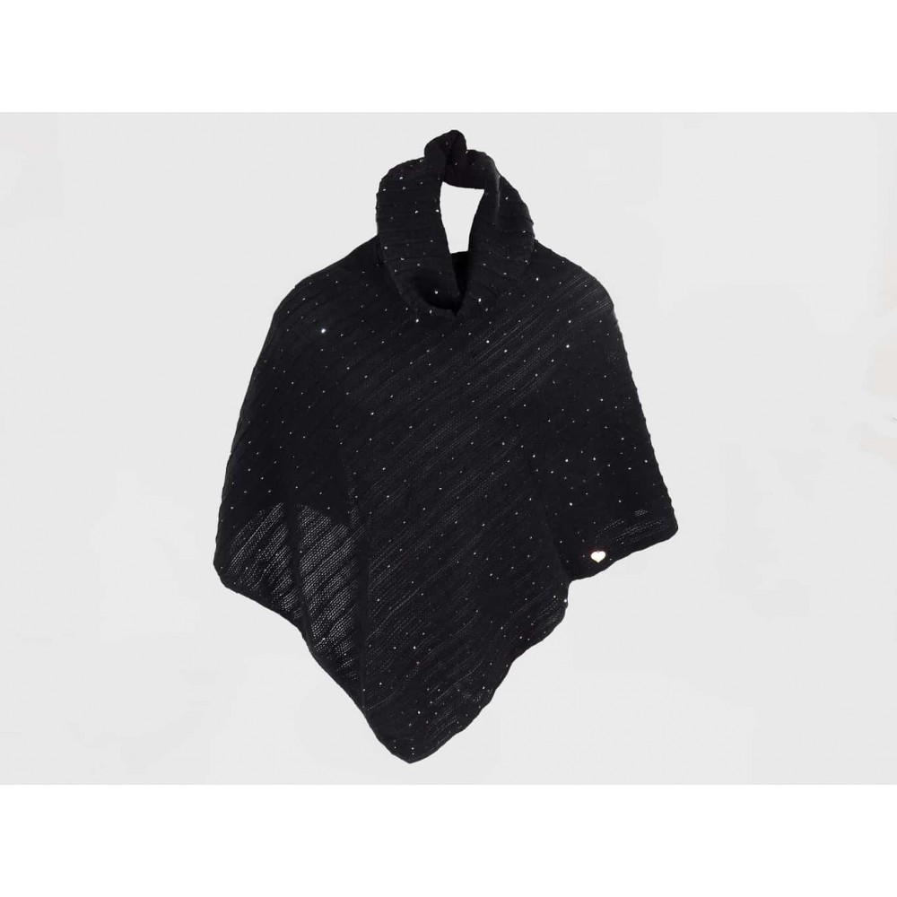 Black - women's sequin poncho and gold heart tag