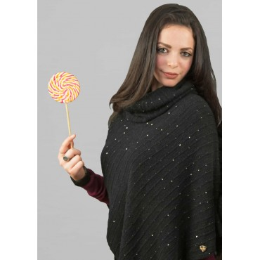 Model - women's sequined poncho and gold heart tag
