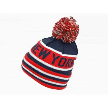 Rosso - cappello da bimbo jacquard NEW YORK con POMPON