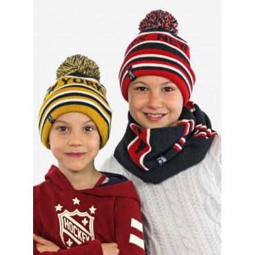 cappello e sciarpa da bimbo jacquard NEW YORK con POMPON