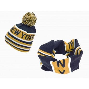 Giallo - completo di sciarpa ad anello e berretto con pompon jacquard