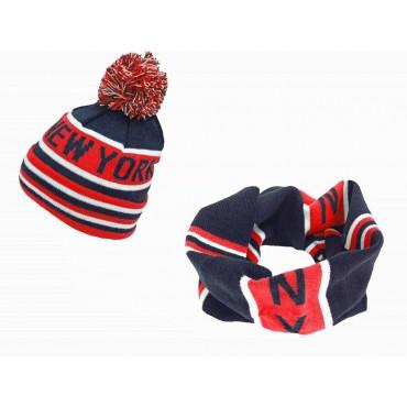 Rosso - completo di sciarpa ad anello e berretto con pompon jacquard