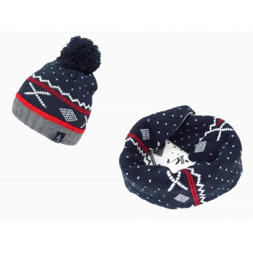 Red - patterned jacquard cap and scarf for children