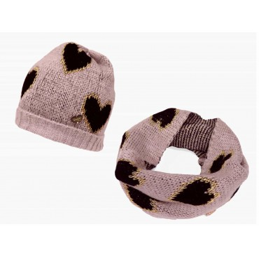 Pink - set of hat and soft scarf with hearts for a girl