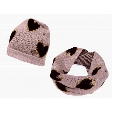 Rosa - set di cappello e sciarpa morbida a cuori da bimba
