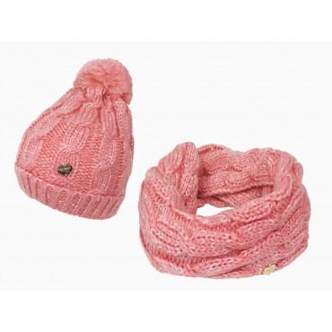 set con cappello e sciarpa ad anello rosa a trecce con lurex da bimba