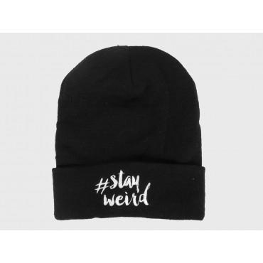 Stay weird - morbido cappello nero unisex con scritta