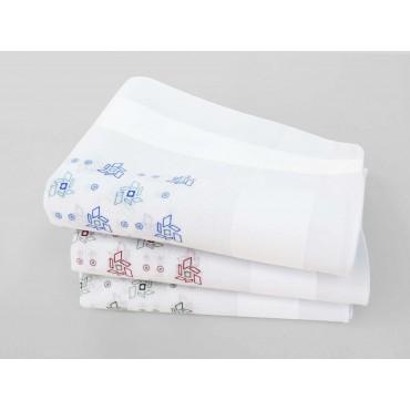 Varianti - Principe - fazzoletti di cotone bianchi da uomo con motivi geometrici astratti