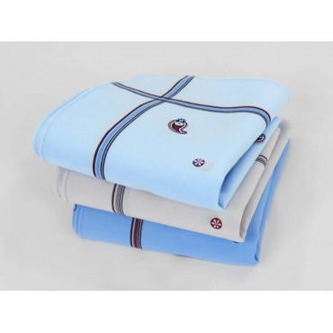 Zaffiro colorato - dozen of pastel ground handkerchiefs with cashmere motifs and stripes