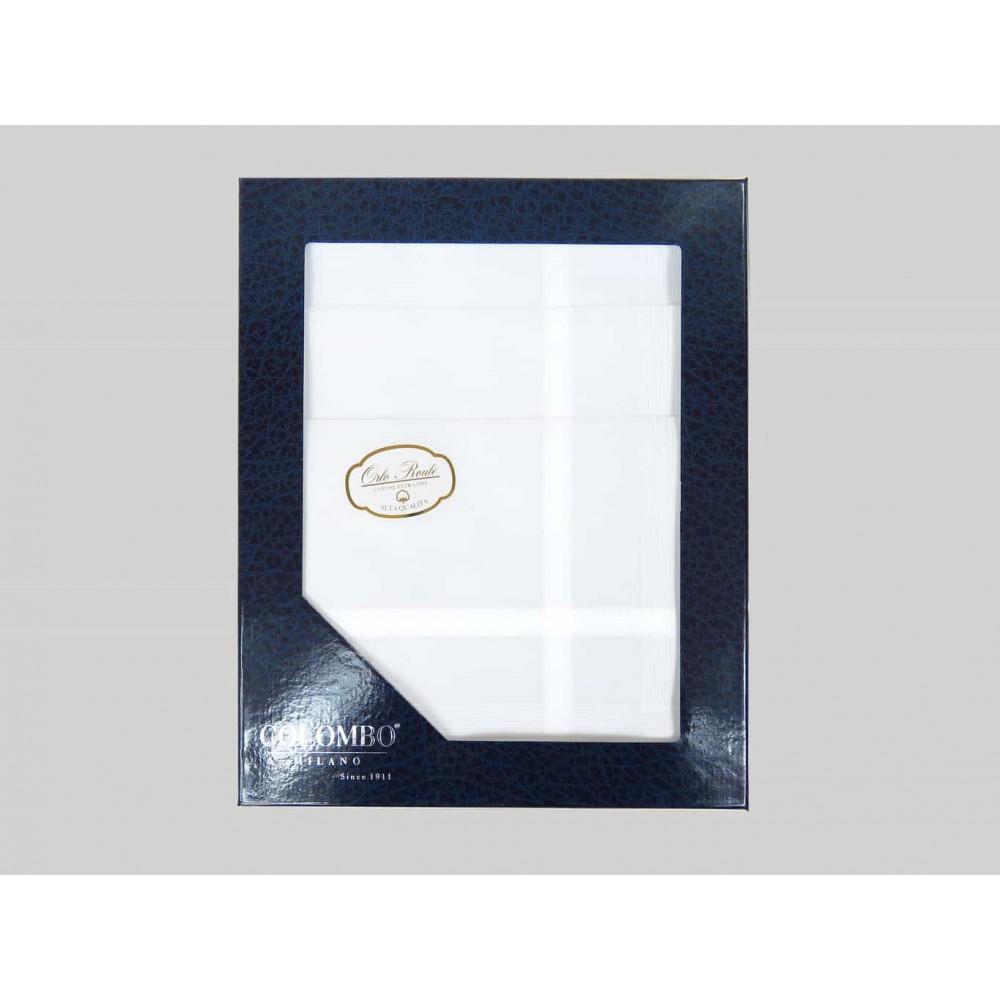 Oxford dozzina dis. 1 - fazzoletto di cotone bianco da uomo con righe di raso fini e Orlo Roulè