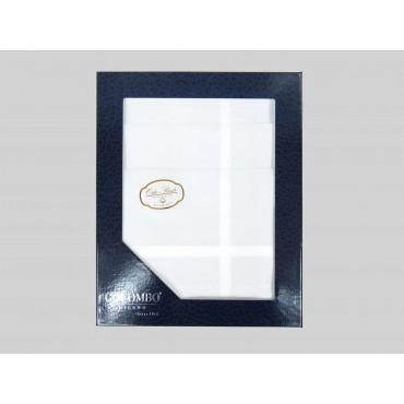 Oxford dozzina - fazzoletto di cotone bianco da uomo con righe di raso fini e Orlo Roulè