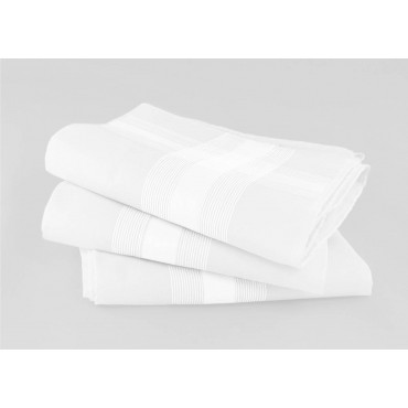 Oxford des. 2 - dozen white men's handkerchiefs with satin stripes