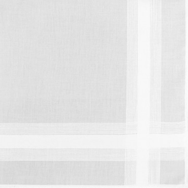 Dettaglio - Oxford - fazzoletto di cotone bianco da uomo con incrocio di righe di raso e Orlo Roulè