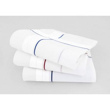 Sangallo - dozen handkerchiefs for men with Hand rolled hem - thick satin stripes