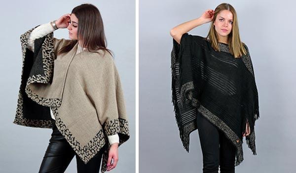 Accessori moda inverno poncho o mantella da donna