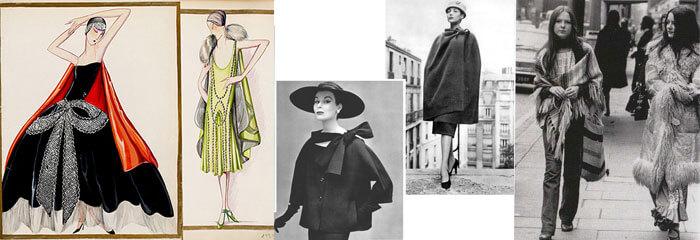 Prime apparizioni della mantella nel mondo della moda