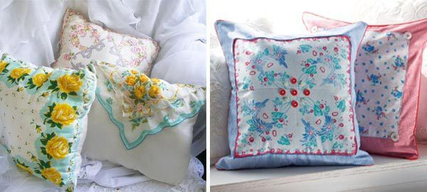 Cuscino patchwork con fazzoletti di stoffa