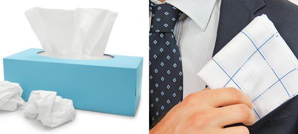 fazzoletti di carta contro fazzoletti di stoffa